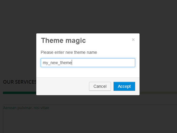 saving a new theme in T3 theme magic